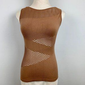 Forever 21 XXI Brown Sleeveless Cut Out Shirt